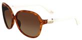 Diane von Furstenberg Maya Square Frame Sunglasses In Blonde Tortoise