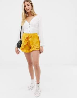 Glamorous frill shorts-Yellow