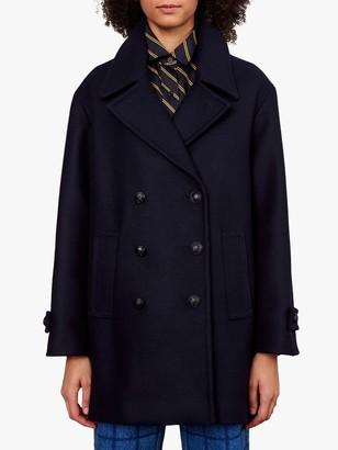Gerard Darel Pola Virgin Wool Pea Coat, Navy