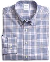 Brooks Brothers Supima Cotton Non-Iron Slim Fit Lavender with Blue Twill Sport Shirt