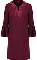 Anna Sui Lonely Hearts Appliquéd Cotton-Blend Crepe Mini Dress