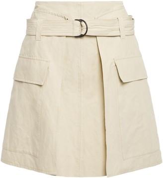 Brunello Cucinelli Belted Cotton-blend Canvas Mini Skirt
