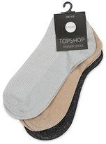 Topshop Three-Pack Glitter Trainer Socks