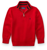 Ralph Lauren Half-Zip Cotton Pullover, Red, Size 2-4