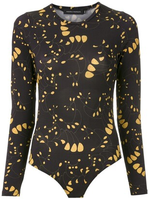 Andrea Marques Printed Long Sleeves Bodysuit