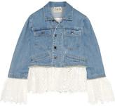 Sea Broderie Anglaise Cotton-paneled Denim Jacket - Mid denim