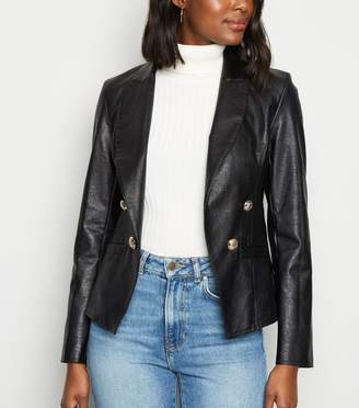 New Look Leather-Look Military Blazer