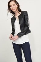 Dynamite Faux Leather Zip Jacket with Ribbed Details