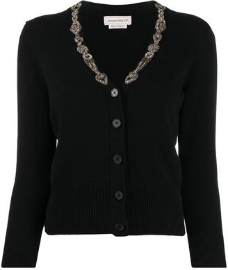 Alexander McQueen bead-detail V-neck cardigan