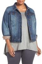 ADDITION ELLE LOVE AND LEGEND 'Joggy' Denim Jacket (Plus Size)