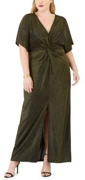 Love Squared Trendy Plus Size Twisted Metallic Dress