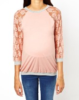 Asos Exclusive Top With Lace Raglan Sleeve