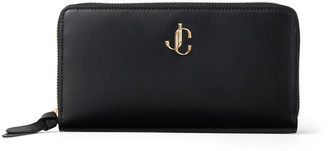Jimmy Choo PIPPA Black Smooth Calf Leather Wallet with JC Emblem