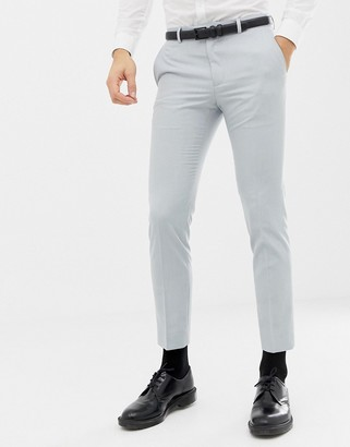 Moss Bros skinny wedding suit pants in ice blue