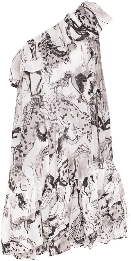 Stella McCartney One-shoulder Ruffled Printed Cotton And Silk-blend Dress