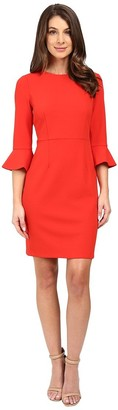 Donna Morgan Women's 3/4 Bell Sleeve Stretch Crepe Sheath Dress