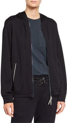 Brunello Cucinelli Cotton-Silk Felpa Hooded Jacket