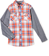 Beverly Hills Polo Club Coral Plaid Contrast-Sleeve Button-Up - Toddler & Boys