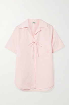 Kenzo Tie-detailed Embroidered Cotton-poplin Shirt - Pastel pink