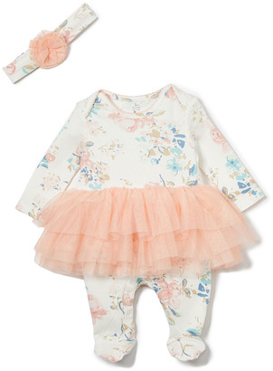Baby Starters Girls' Headbands Pink - White & Light Pink Floral Tutu Playsuit - Newborn & Infant