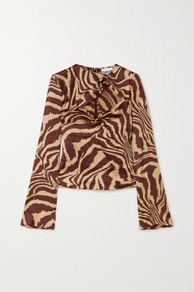 Ganni Cutout Ruched Zebra-print Stretch-silk Satin Top - Zebra print