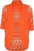 FashionMark Plus Size Women's Crochet Knitted Shrug Cardigan (Wine)
