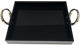 R16 Home Sm Blk Tray With Silver Ring