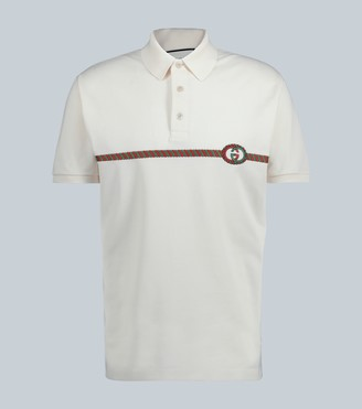 Gucci Web stripe cotton polo shirt