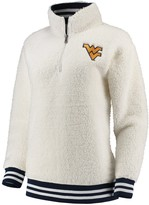 Unbranded Women's Cream West Virginia Mountaineers Varsity Banded Sherpa Quarter-Zip Pullover Jacket