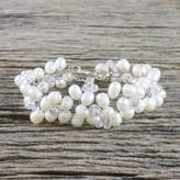 Thai Bridal Beaded Pearl Bracelet, 'Glamour'