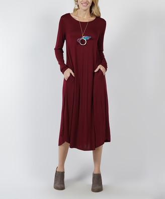 Lydiane Women's Casual Dresses DK - Dark Burgundy Crewneck Long-Sleeve Pocket Midi Dress - Women & Plus