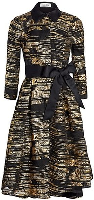 Teri Jon by Rickie Freeman Metallic Jacquard Fit-&-Flare Dress