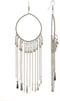 Stephan & Co Bead & Chain Fringe Hoop Earrings
