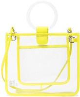 THACKER Le Pouch Leather Trimmed Peekaboo Clear Handbag