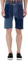 FDMTL Men's Denim Patchwork Shorts-BLUE