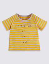Marks and Spencer Pure Cotton Striped T-Shirt
