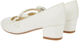 Monsoon Girls Evelyn Asymetric Flower Trim Shoes - Ivory