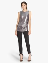 Halston Metallic Jersey Draped Top