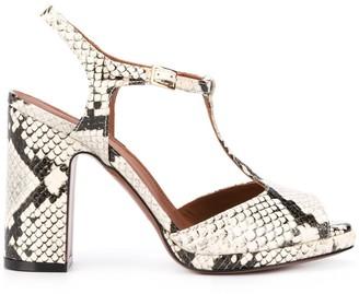 L'Autre Chose Snakeskin-Print Open Toe Sandals