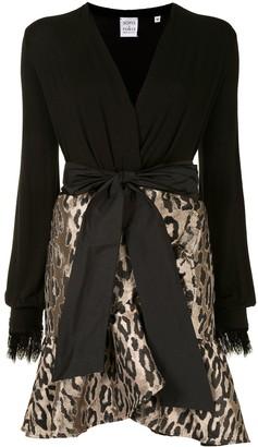 Sara Roka Leopard Print Panelled Mini Dress