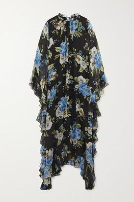 Erdem Darence Ruffled Floral-print Silk-voile Maxi Dress - Black