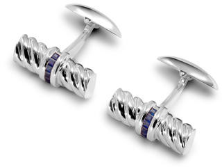 Aspinal of London Sterling Silver & Gemset Barrel Twist Cufflinks