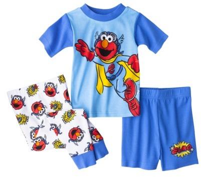 Sesame Street Toddler Boys' Elmo 3-Piece Short-Sleeve Pajama Set