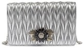Miu Miu Women's Delice Matelasse Leather Wallet On A Chain - Metallic