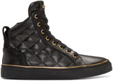 Balmain Black Quilted Leather High-Top Sneakers