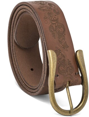 elise m Womens Anne Trendy Leather Jean Belt with Heavy Gold Stitching and Antiqued Oval Buckle