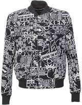 Kenzo Printed Black Techno Cotton Storm Flyer Bomber Jacket