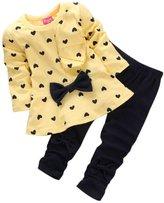 Perman Kids Girls Cute Print Bow T shirt + Pants Set