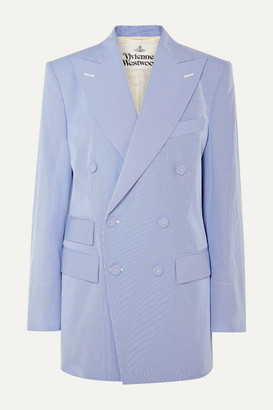 Vivienne Westwood Oversized Double-breasted Pinstriped Cotton-blend Blazer - Light blue