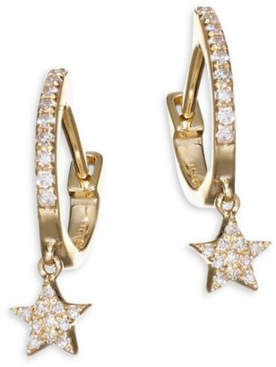 Ef Collection 14K Yellow Gold Star Drop Diamond Huggie Hoops